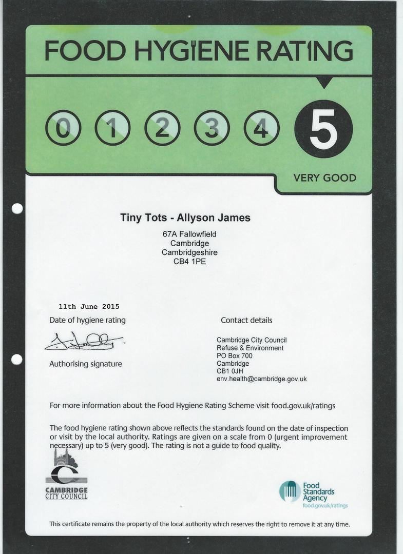 Tinytots Food Hygiene Certificate